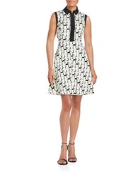 Betsey Johnson Collared Fit And Flare Dress Ivory Black