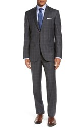 David Donahue Men's Big And Tall 'Ryan' Classic Fit Plaid Wool Suit Charcoal