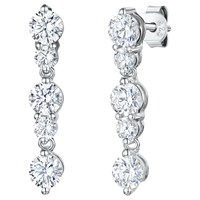 Jools By Jenny Brown 5 Rhodium And Cubic Zirconia Drop Earrings Silver