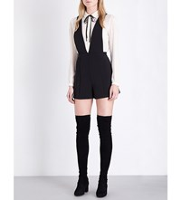 Maje India Woven Playsuit Black