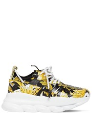 Versace Chain Reaction 2 Printed Mesh Sneakers Black Gold