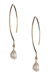 Charlene K 14K Gold Vermeil 5Mm White Freshwater Pearl Drop Earrings Metallic