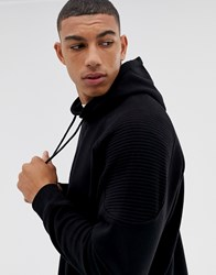 Another Influence Ribbed Panel Overhead Hoodie Black