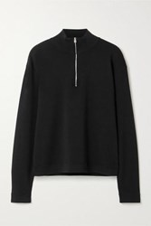 The Row Molly Ribbed Merino Wool And Cashmere Blend Sweater Black