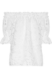 Badgley Mischka Off The Shoulder Guipure Lace Top White