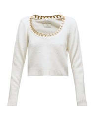 Bottega Veneta Chain Trim Scoop Neck Sweater White