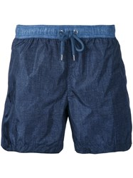 Moncler Denim Effect Track Shorts Blue