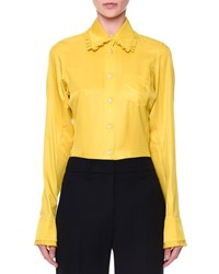 Jil Sander Silk Blouse With Pleated Collar Yellow