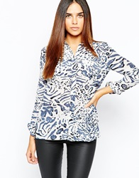 Warehouse Animal Silk Print Blouse Multi