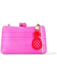 Serpui Woven Box Clutch Bag Women Wood One Size Pink Purple
