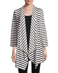 Caroline Rose Fishnet Striped Open Jacket White Black