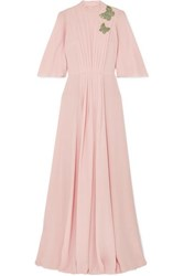 Andrew Gn Crystal Embellished Pleated Silk Chiffon Gown Pink