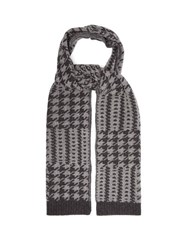 Allude Houndstooth Jacquard Virgin Wool Scarf Grey