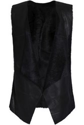 Karl Donoghue Reversible Paneled Shearling Vest Black