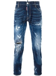 Dsquared2 Tidy Biker Bleached Knee Jeans Blue