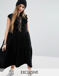 Reclaimed Vintage Midi Dress With Ruffles And Lace Insert Black