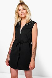 Boohoo Utility Zip Front Shirt Dress Black