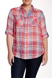 Sandra Ingrish Roll Sleeve Plaid Shirt Plus Size Red