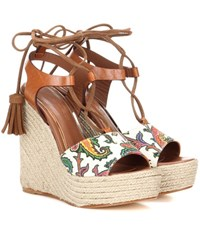 Etro Leather Wedge Sandals Brown