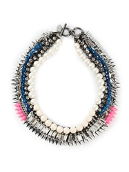 Venna Pearly Spiked Collar Necklace Metallic