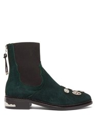 Toga Studded Suede Chelsea Boots Dark Green