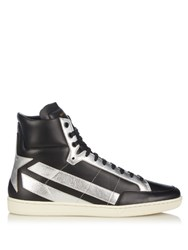 Saint Laurent Star Panelled Leather High Top Trainers Black Multi