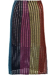 Marco De Vincenzo Open Embroidery Midi Skirt Multicolour