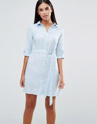 Ax Paris 3 4 Sleeve Shirt Dress Blue