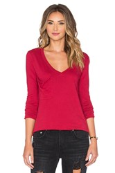 Bobi Light Weight Jersey Pocket V Neck Long Sleeve Tee Red