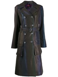 Sies Marjan Reflective Trench Coat Blue