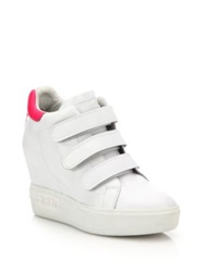 Ash Avedon Leather High Top Wedge Sneakers White Pink