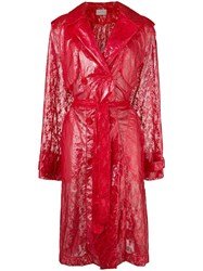 Christopher Kane Plastic Lace Trench Coat Red