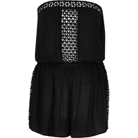 River Island Womens Black Lace Trim Playsuit