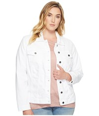 Kut From The Kloth Plus Size Helena Jacket With Front Pocket Optic White Women's Coat