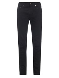 Saint Laurent Ripped Cuff Skinny Jeans Black