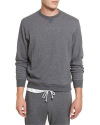 Brunello Cucinelli Cotton Blend Jersey Crewneck Sweatshirt Dark Gray