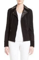 St. John Women's Collection Leather And Ponte Knit Moto Jacket