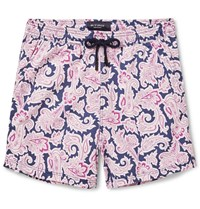 Etro Short Length Paisley Print Swim Shorts Pink