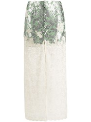 Paco Rabanne Floral Lace Skirt Metallic