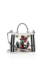 Dolce And Gabbana Mini Sicily Leather Anchor Top Handle Bag White Multi