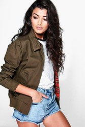 Boohoo Tartan Lined Harrington Bomber Khaki