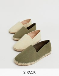 Truffle Collection Two Pack Slip On Plimsolls In Beige And Khaki Multi