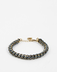 Asos Metal And Rope Bracelet Black