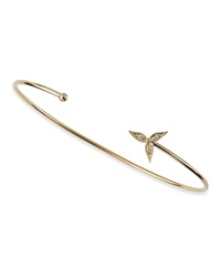 Mizuki 14K Gold Cuff With Diamond Flower Cap