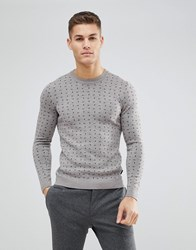 Ted Baker Crew Neck Jumper With Print Natural Grey
