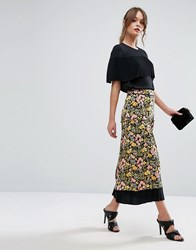 Warehouse Floral Print Contrast Maxi Skirt Black