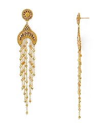 Miguel Ases Beaded Dangle Drop Earrings Gold