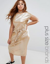 Alice And You Plisse Cap Sleeve Dress With Tie Waist Gold