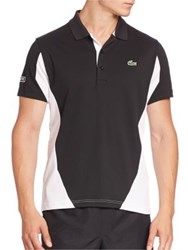 Lacoste Ultra Dry Colorblock Polo Shirt Navy Blue Black White