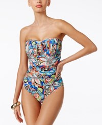 Swim Solutions Fiesta Shirred Printed Bandeau One Piece Swimsuit Women's Swimsuit Multi